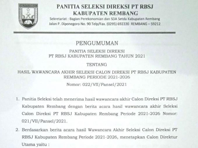 pengumuman direksi 2021-2026