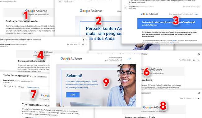 Pesan Penolakan Pengajuan Google Adsense