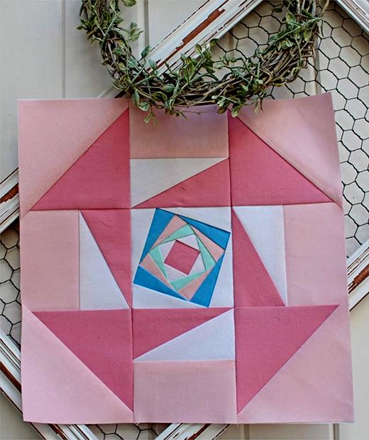 Modern Churn Dash Block designed By Rose Johnston of Threadbare Creations