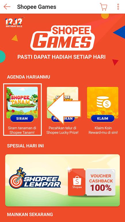Game Shopee Tanam di Halaman Fitur Shopee Games Pada Aplikasi Shopee.