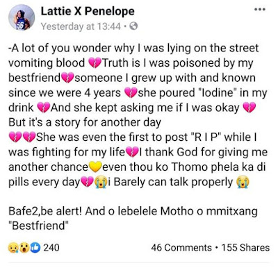 Young Lady Narrates How She Was Allegedly P0is0ned By Her Best Friend (Photo)