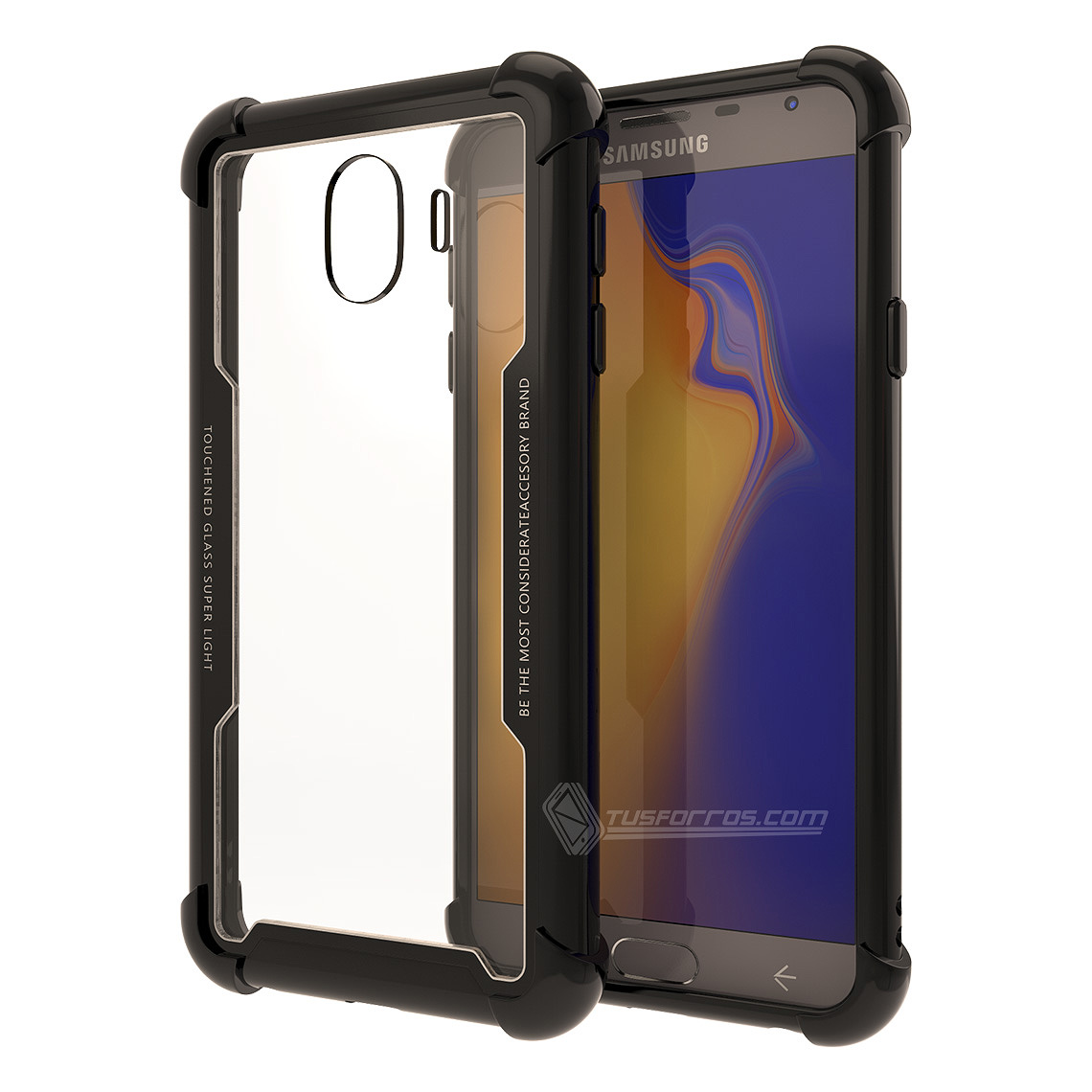Samsung Galaxy J4 2018 Forro Anti-Shock Edge Black BackCover Cristal Clear