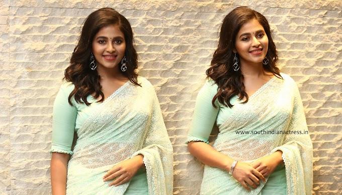 Actress Anjali Photos In Saree Stills At Vakeel Saab Event