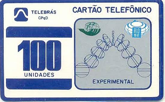 Cartão telefônico - Telebrás - Experimental Branco com Fichas