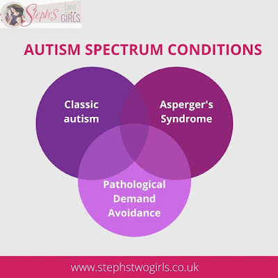 venn diagram showing 3 types of autism - classic autism, aspergers and pathological demand avoidance