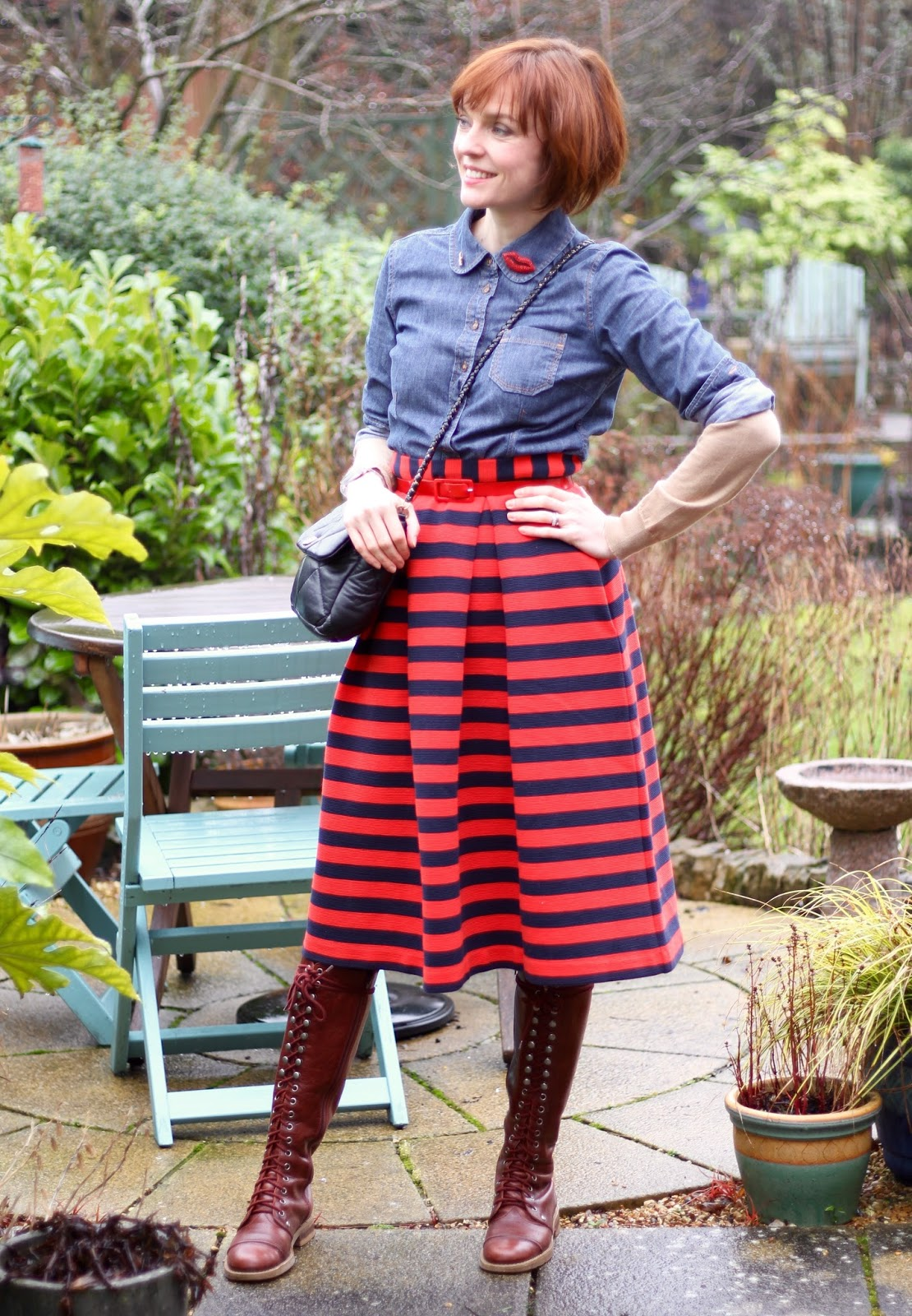 Striped Midi Skirt, Burgandy Knee Boots & Denim Shirt, over 40 | Fake Fabulous