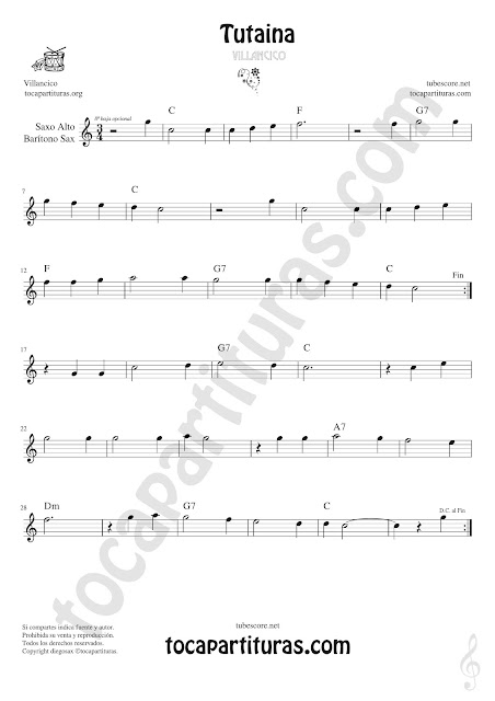 Saxofón Alto y Sax Barítono Partitura de Tutaina Villancico  Sheet Music for Alto and Baritone Saxophone Music Scores