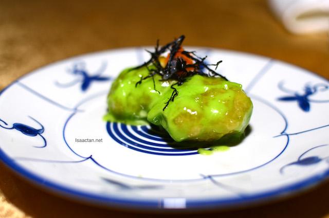 Deep Fried Prawns Dipped In Wasabi Sauce