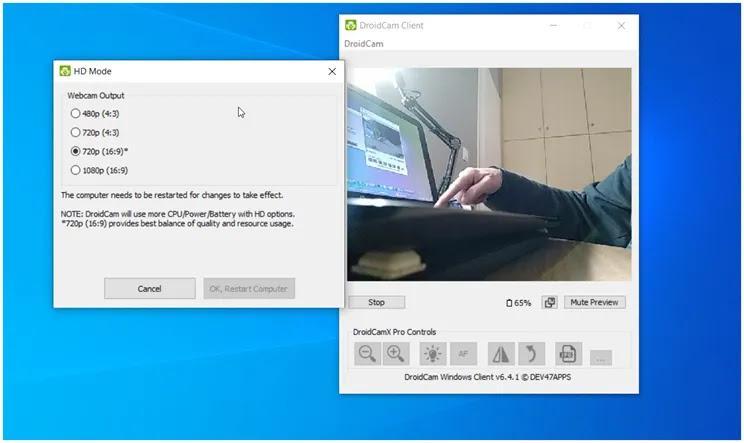DroidCam :   Μετατρέψτε την κάμερα του κινητού σας Android σε κάμερα web για τον υπολογιστή σας