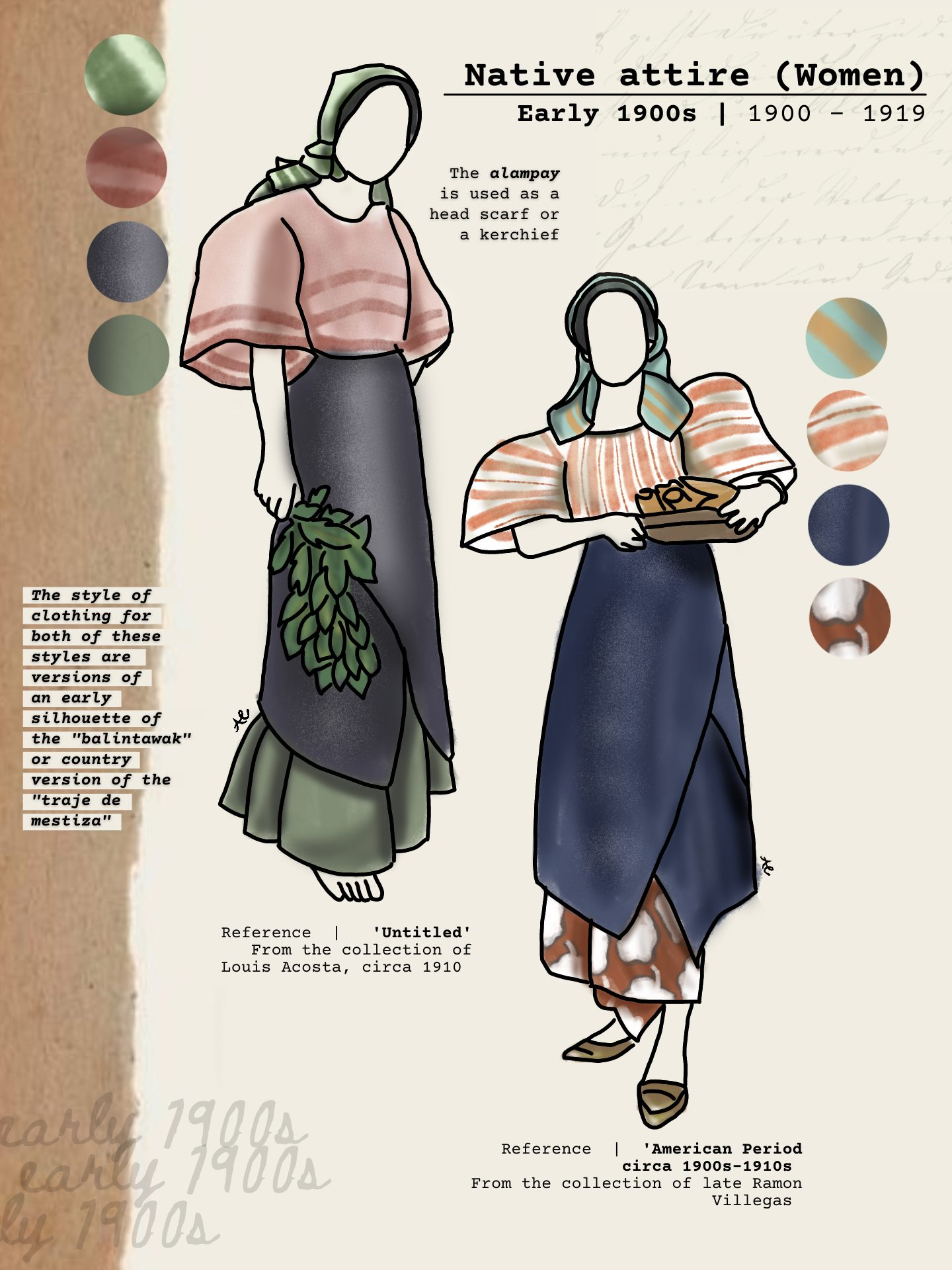 The balintawak was a country version of the traje de mestiza. The alampay in both examples is worn and used as headscarf or kerchief.