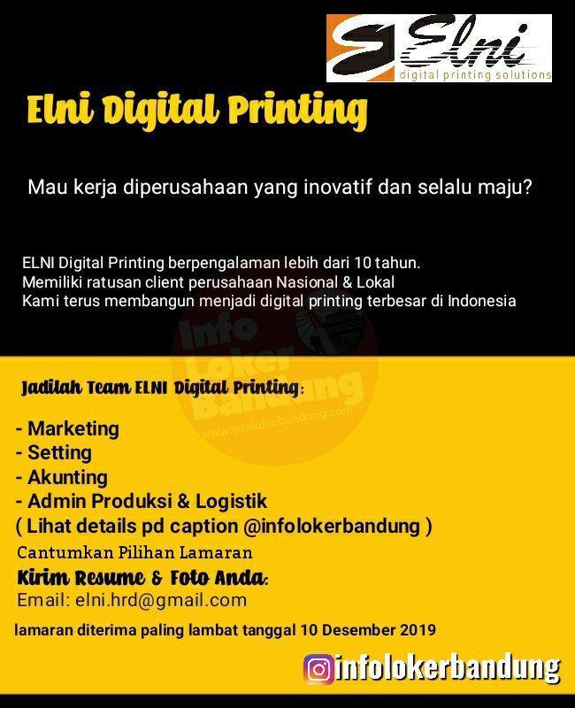 Lowongan Kerja PT. Elni Digital Printing Bandung Desember 2019