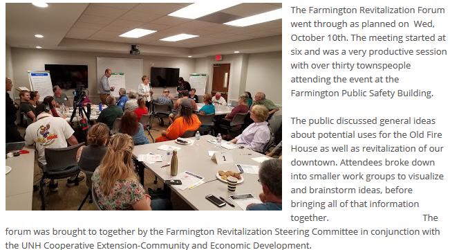 Farmington Revitalization Forum From Oct 10th, Recap and Photos