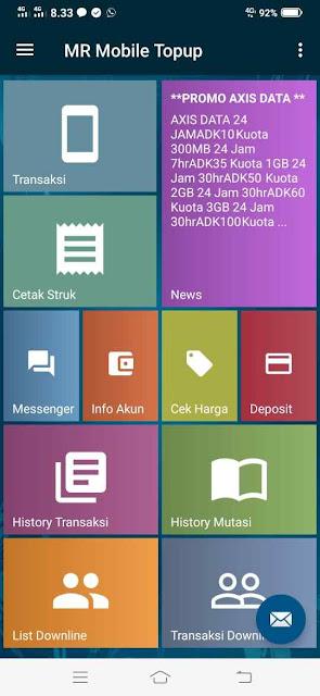 Tampilan Utama MR Mobile Topup Aplikasi Metro Reload Pulsa