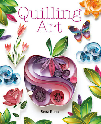 Quilling Art book cover shows quilled apple, sun, butterfly, flowers and more
