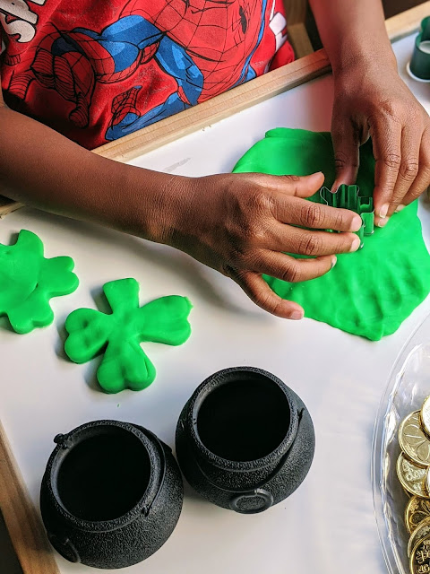 St. Patrick's Day play dough tray for kids
