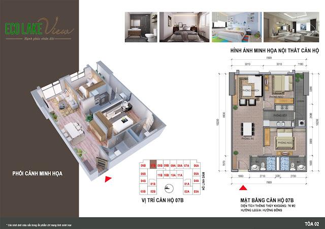 Thiết kế căn hộ 07B tòa HH2 chung cư ECO LAKE VIEW
