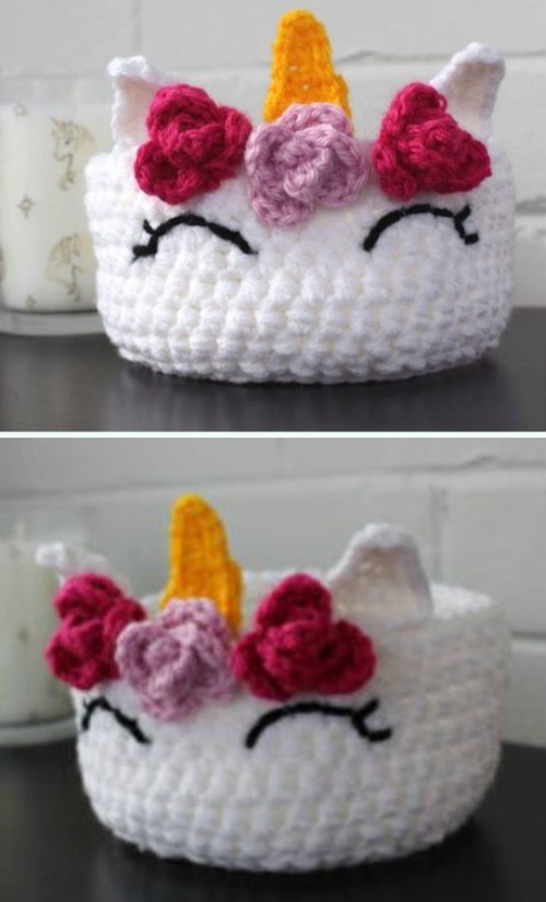 Quick and Easy Unicorn Basket - Free Pattern