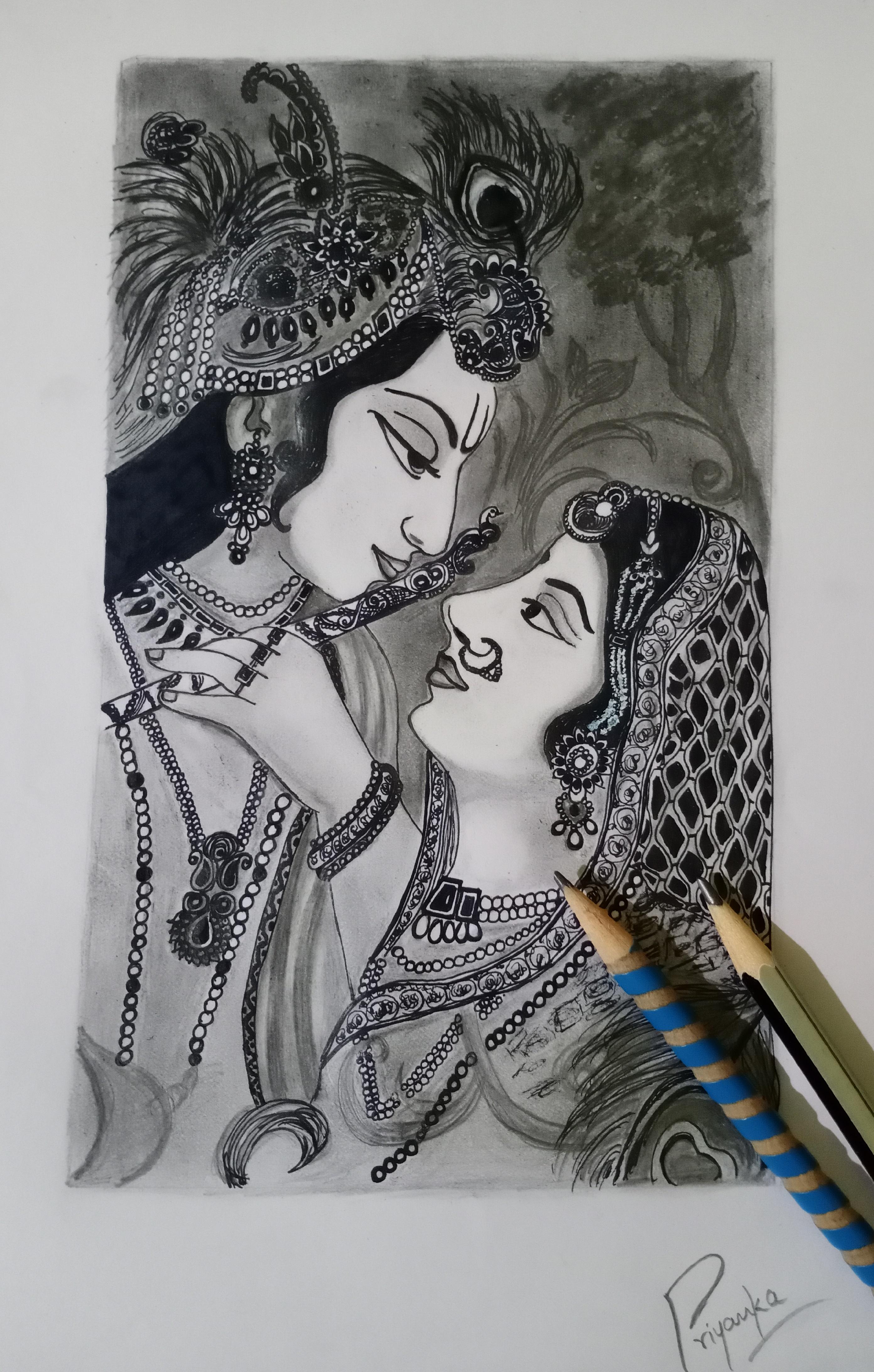 Art at the start : Lord Krishna : Pencil sketch