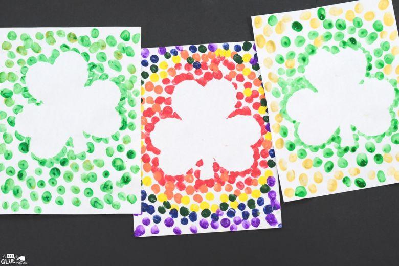 St Patricks day crafts for preschoolers - shamrock thumbprint art