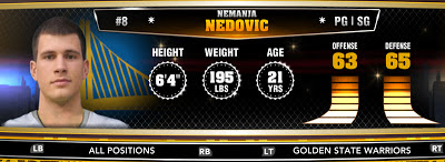 NBA 2K13 Warriors Nemanja Nedovic - Round 1 30th Overall