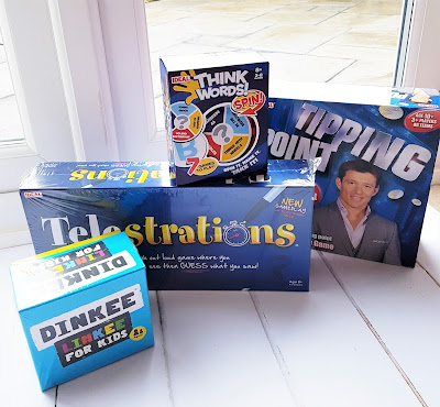 John Adams IDEAL Games Telestrations, Dinkee Linkee, Think Words and Tipping Point laid out together