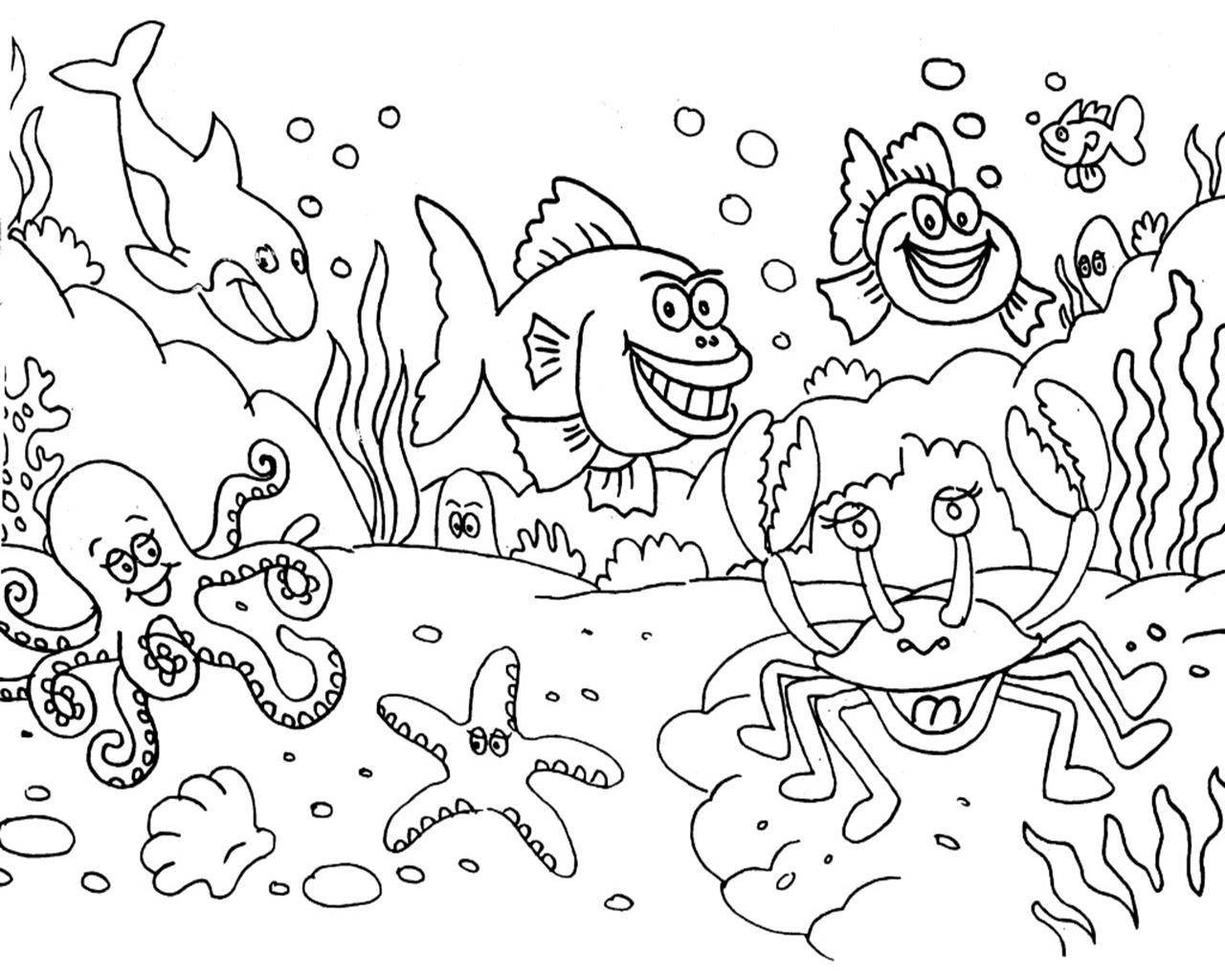 Contoh Mewarnai Hewan Laut
