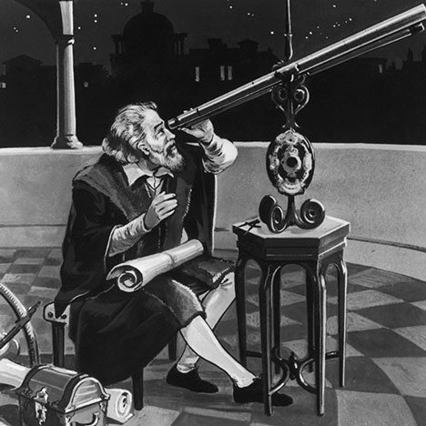 Galileo, seated at tripod with telescope (Source: The Getty Museum)