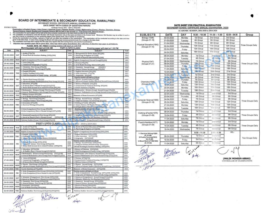 BISE Rawalpindi 10th class Date Sheet 2020