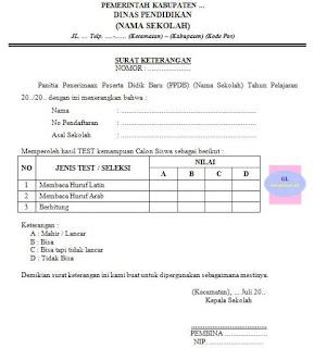contoh format surat keterangan hasil tes ppdb