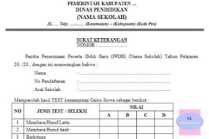 Contoh Surat Keterangan Hasil Tes PPDB