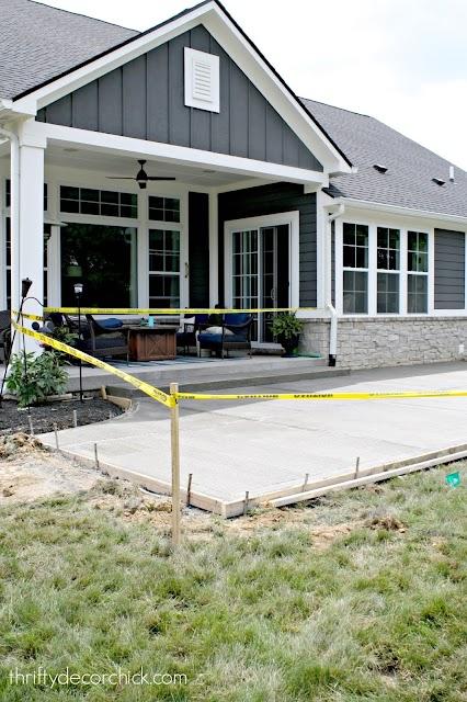 gray house white trim back patio