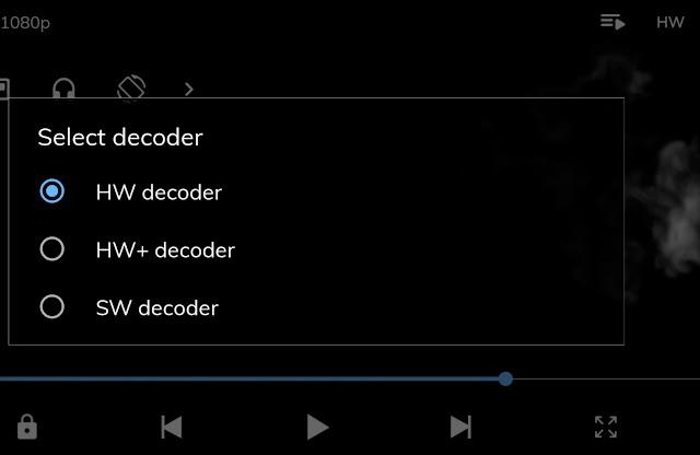 Change video decoder on MX Player
