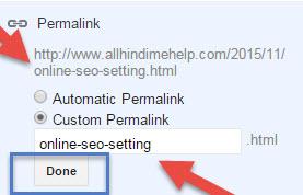 custom pemalink setting seo