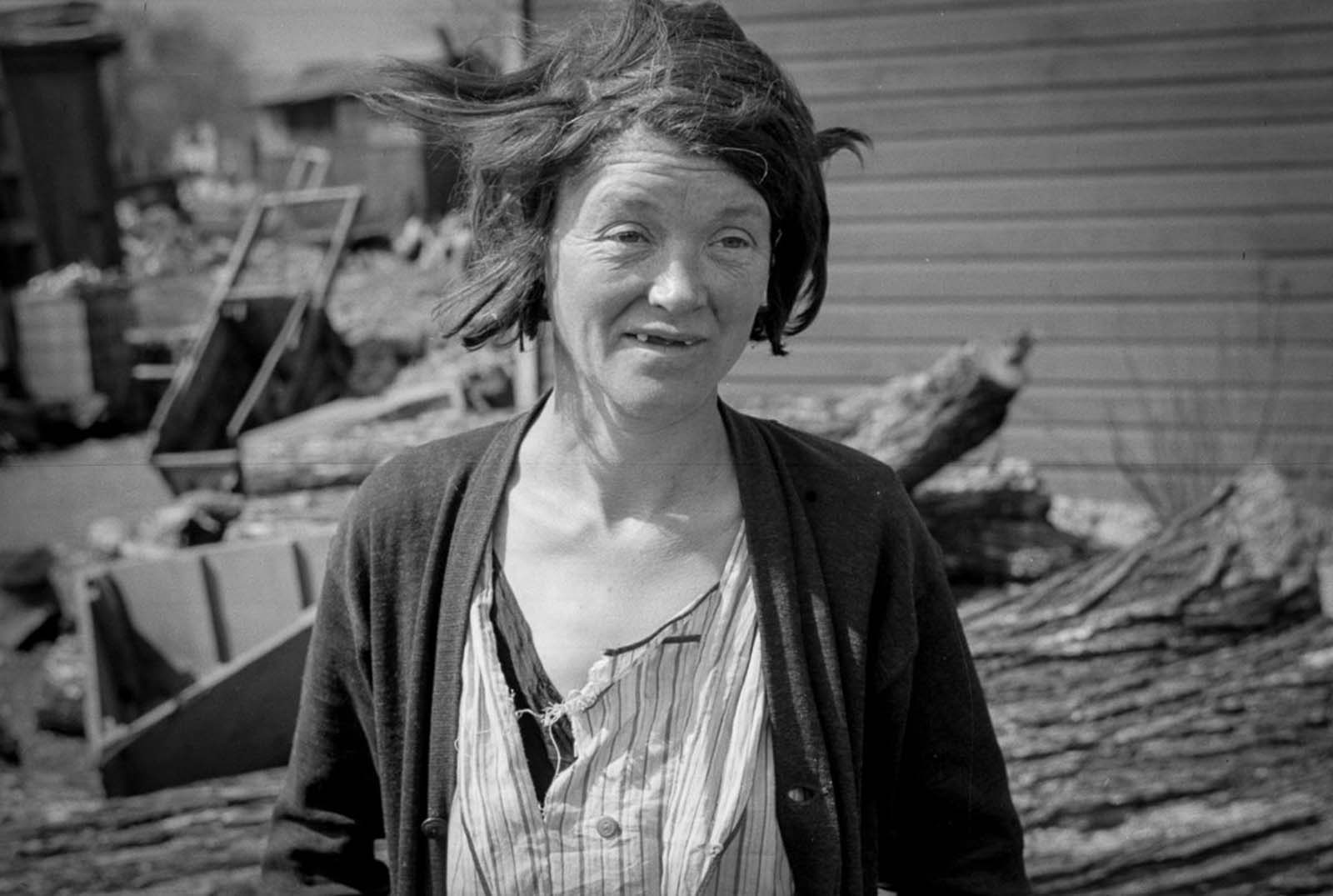 A resident of the river bottoms shacktown in Dubuque, Iowa. 1940.
