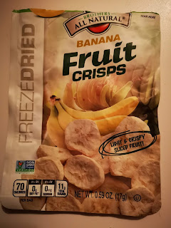 A poorly-lit package of Brothers All-Natural Banana Fruit Crisps, from Dollar Tree