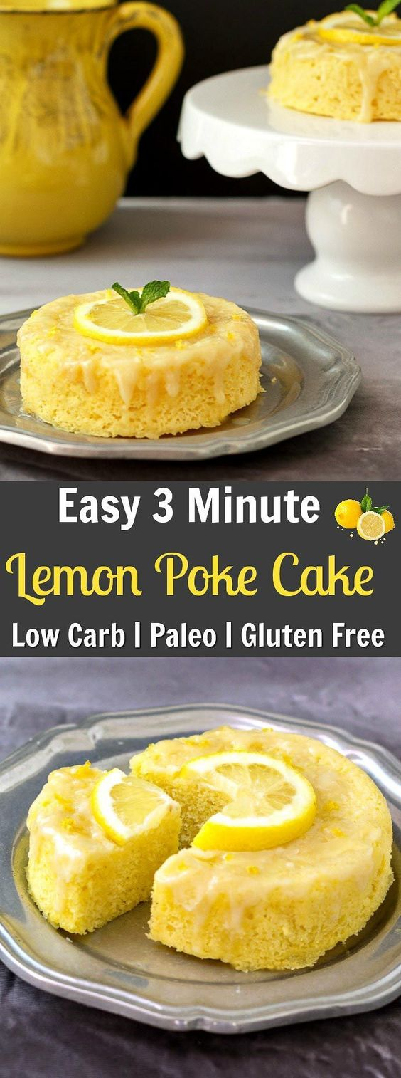 3 MINUTE LEMON POKE CAKE LOW CARB-