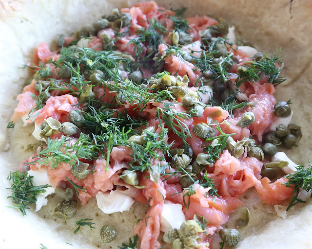 ingredients of the lower east side brunch tart. dill, smoked salmon, capers, and cream cheese