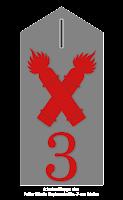 Schulterklappe des Fußartillerie Regiments No. 3 aus Mainz - wie auf dem Schild des Reservistentreffens (Masurisches Fußartillerie Regiment No. 22) zu sehen.