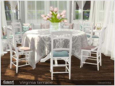 Virginia terrace Вирджиния терраса для The Sims 4 Набор мебели и декора для украшения террасы или столовой. Основной цвет мебели - белый, 3 цвета декоративных вставокэ В набор входит 11 предметов: - скамейка - оттоманка - обеденный стол на 6 человек - обеденный стол на 4 персоны - скатерть на обеденный стол 6 человек - скатерть на обеденный стол на 4 персоны - треугольный стол - обеденный стул (2 варианта) - подушки для скамейки / пуфик (2 варианта) * На скриншотах осман находится рядом с окном, используя код bb.moveobjects и кнопку Alt, но это не мешает сидящим на нем симам. * Для установки стола на 6 человек требуется Backyard Stuff Pack Автор: Severinka_