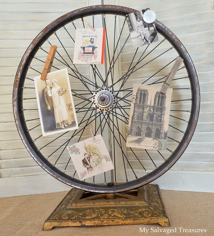 Repurposed Bicycle Wheel and cast iron lamp base