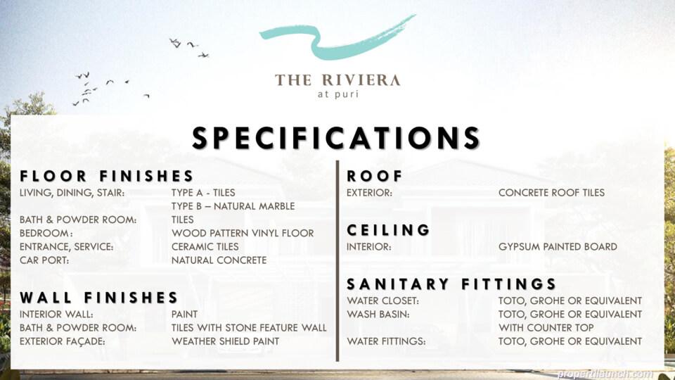 Spesifikasi rumah Riviera Puri