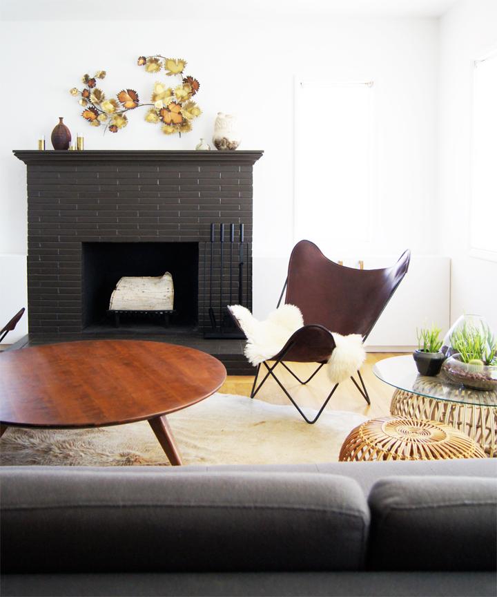 Warm dark grey painted fireplace