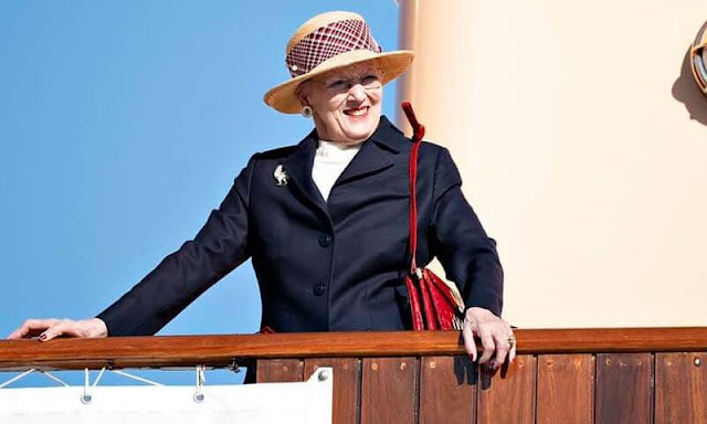 Queen Margrethe arrived at Hanstholm Harbor in Thisted and welcomed by Mayor Ulla Vestergaard