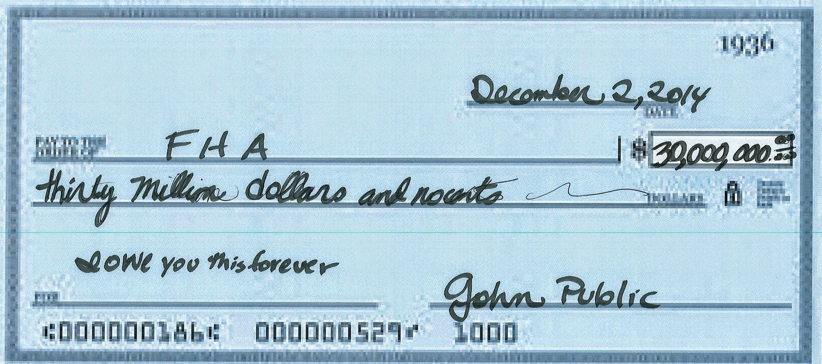 how to write a check for thirty dollars