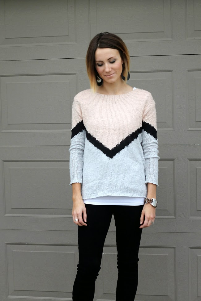 Chevron sweater, black denim and white cowgirl boots