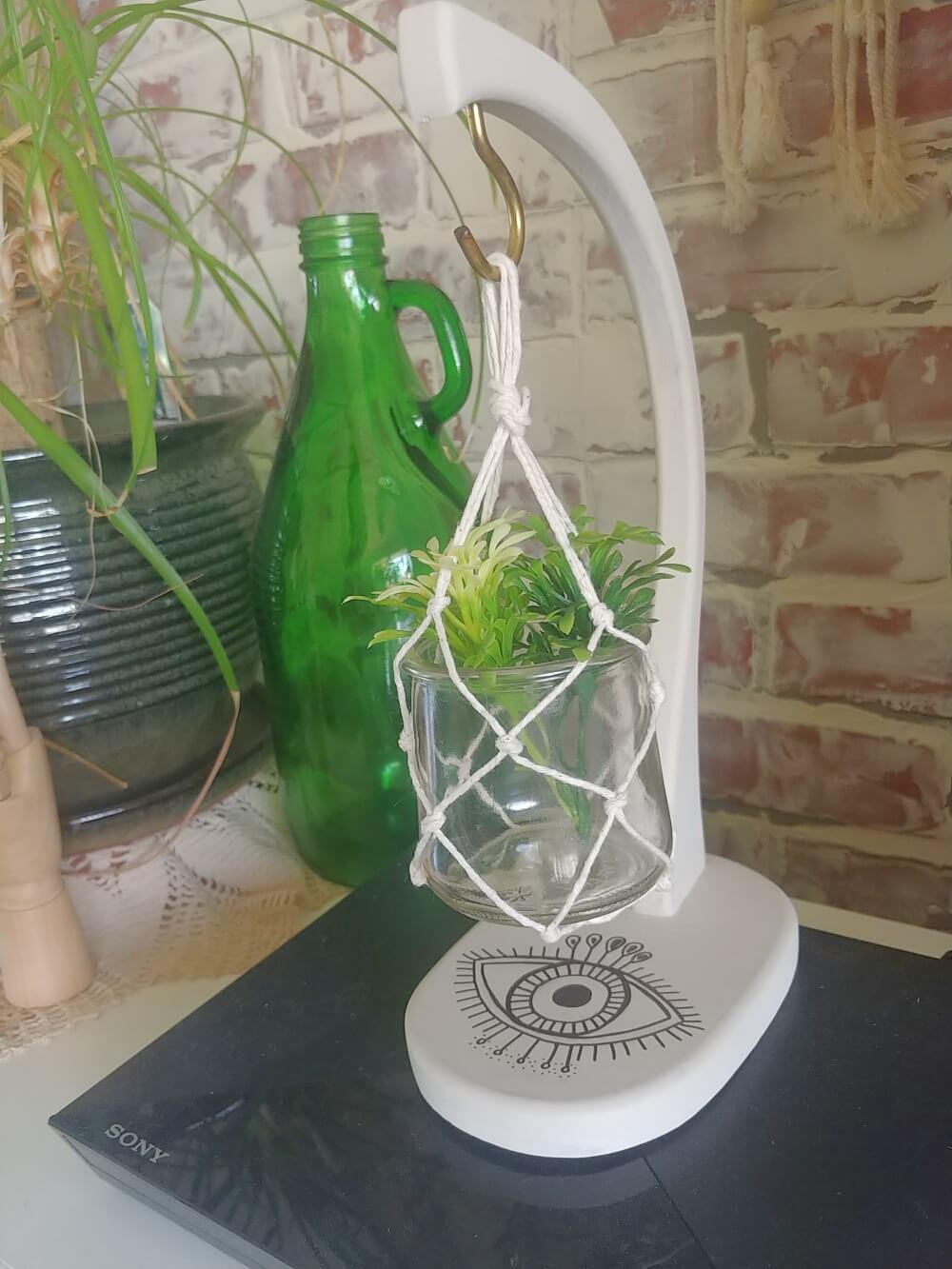 Upcycled Banana Hanger and Oui Yogurt Jar