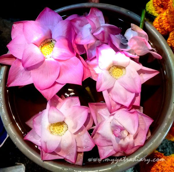Mahalakshmi Temple lotus flowers bucket Mumbai