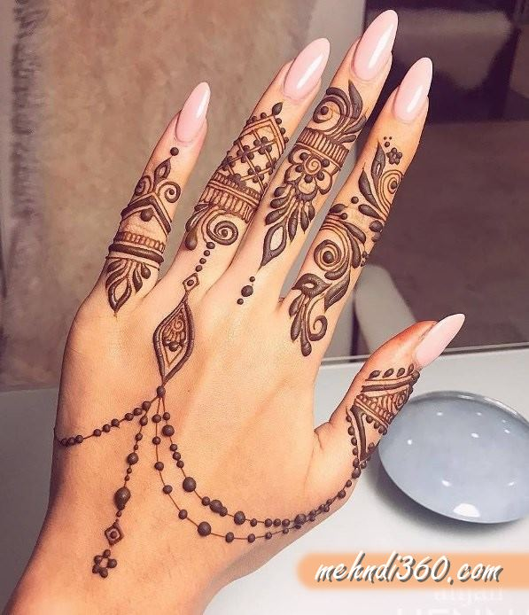 Back Hand Arabic Jewellery Henna Design