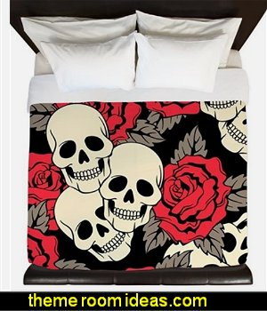 Flowers and Skulls King Duvet