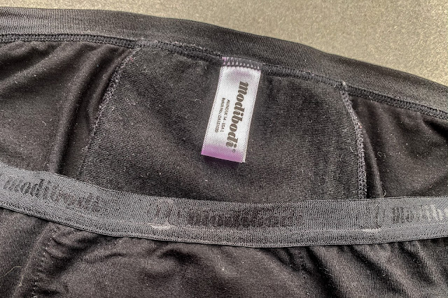 A close up of the inside of the period pants from modibodi